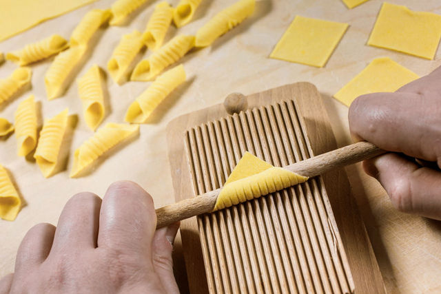 Making garganelli pasta by hand