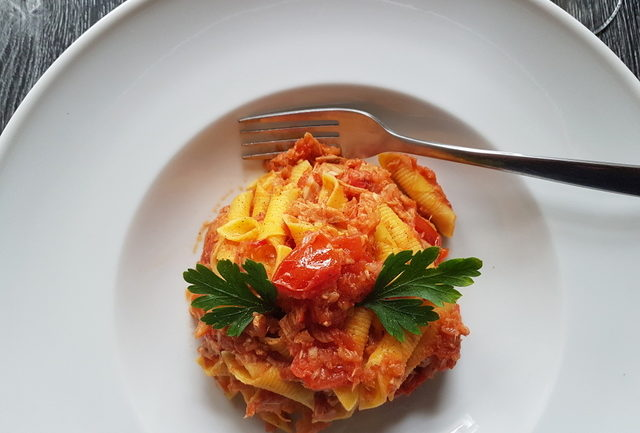 garganelli pasta with tuna Bolognese