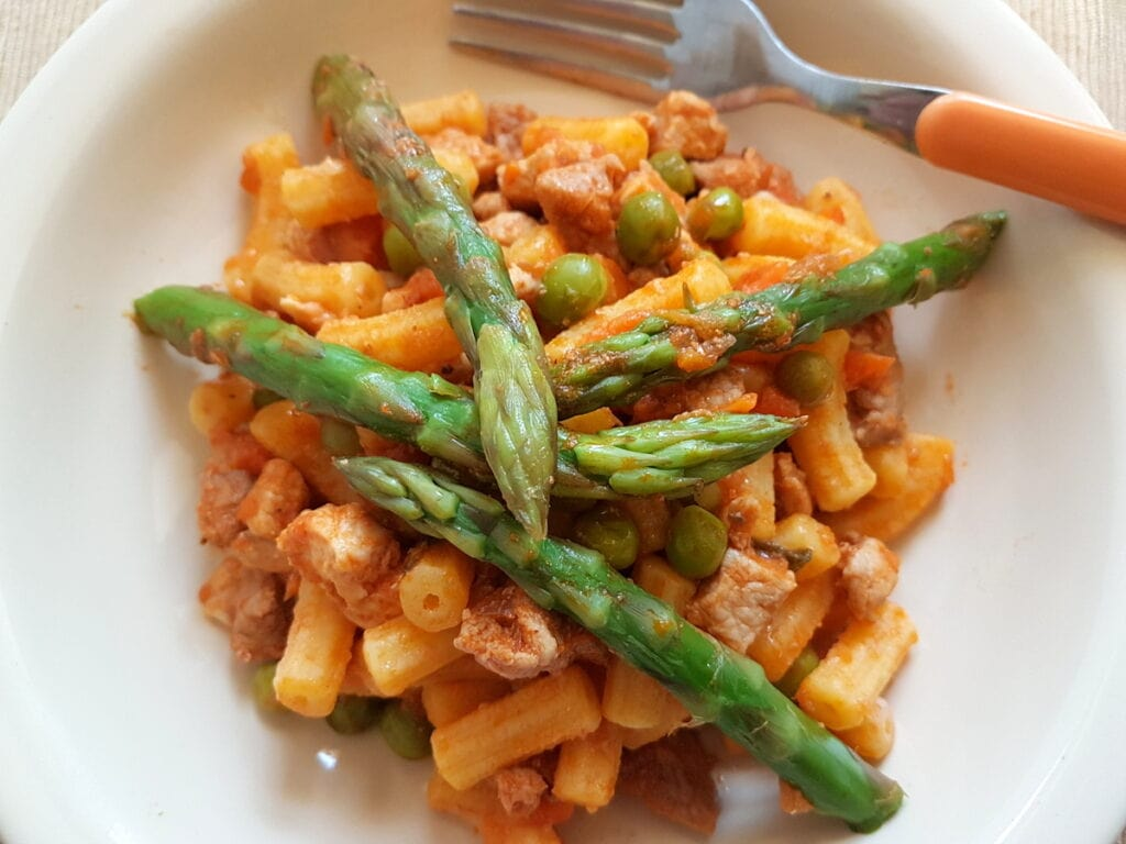 gargati with spring ragu a mixed meat ragu with spring veggies