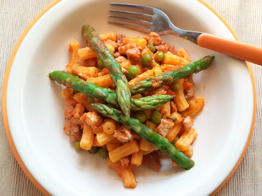 gargati with spring ragu of mixed meats and veggies