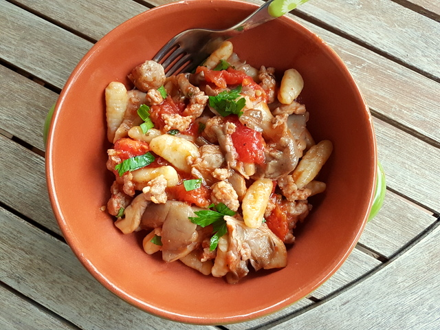 Homemade cavatelli with Oyster mushrooms and sausage