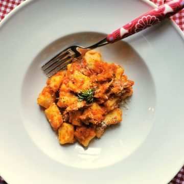 homemade potato gnocchi with duck ragu