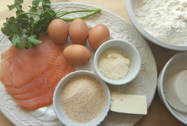 ingredients for homemade smoked salmon cannelloni