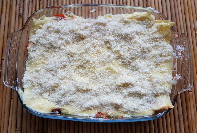 lamb lasagna ready to bake in oven dish