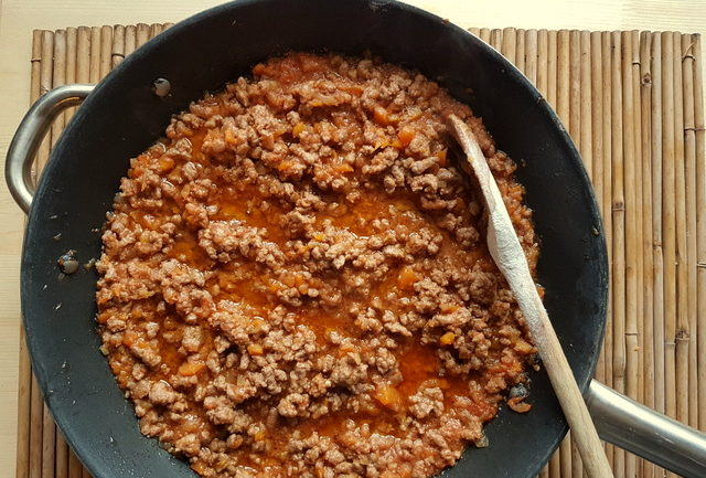 Bolognese ragu in frying pan