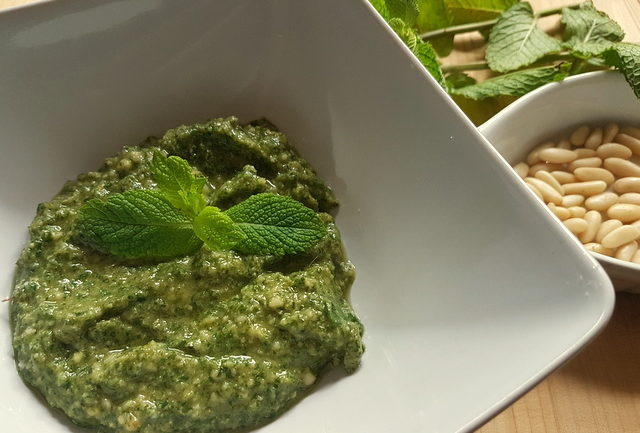 mint pesto in white bowl