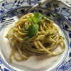 Linguine pasta with mint pesto and ricotta cream.
