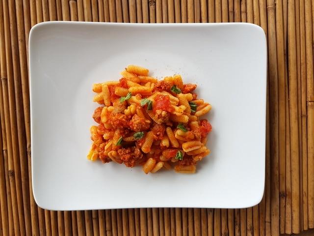 Sardinian gnocchi malloreddus with sausage alla Campidanese