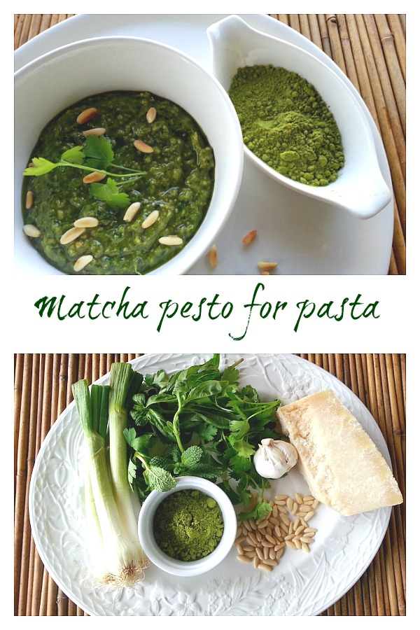 matcha pesto and ingredients