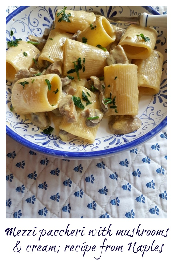 mezzi paccheri with mushrooms and cream