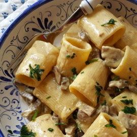 mezzi paccheri with mushrooms and cream