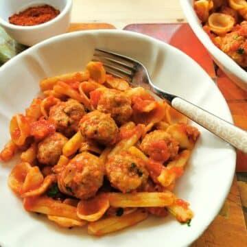 orecchiette with meatballs recipe from Puglia