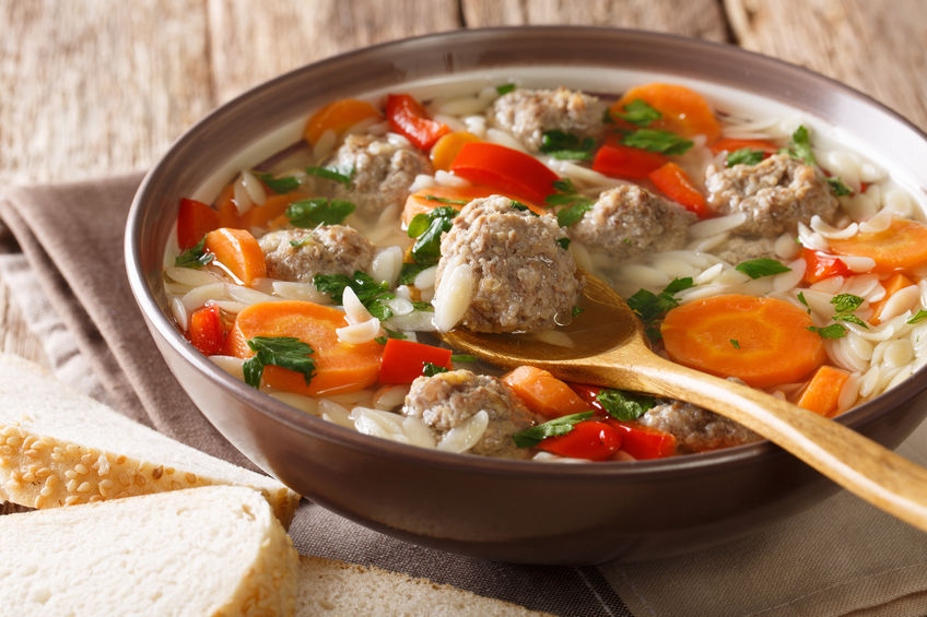 Italian soup with meatballs and orzo pasta