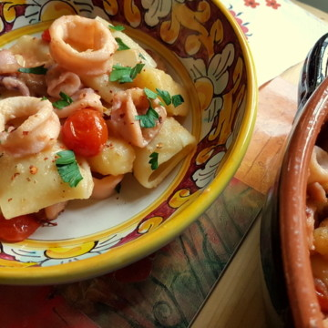 paccheri with calamari and potato