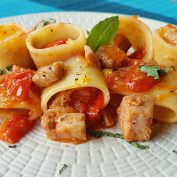 paccheri with fresh tuna ragu recipe from Sicily