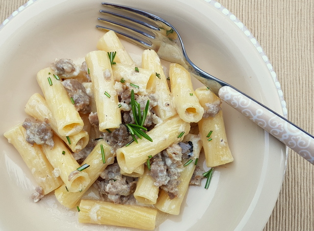 pasta alla Norcina with sausage and truffles