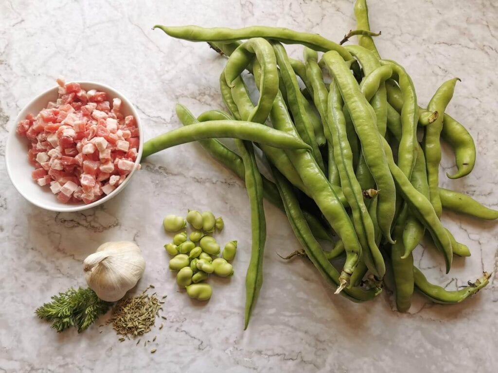 ingredients for pasta with fava beans and pancetta