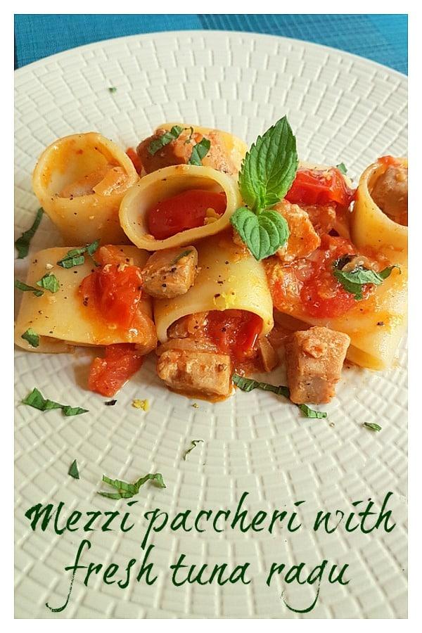 mezzi paccheri with fresh tuna ragu long image