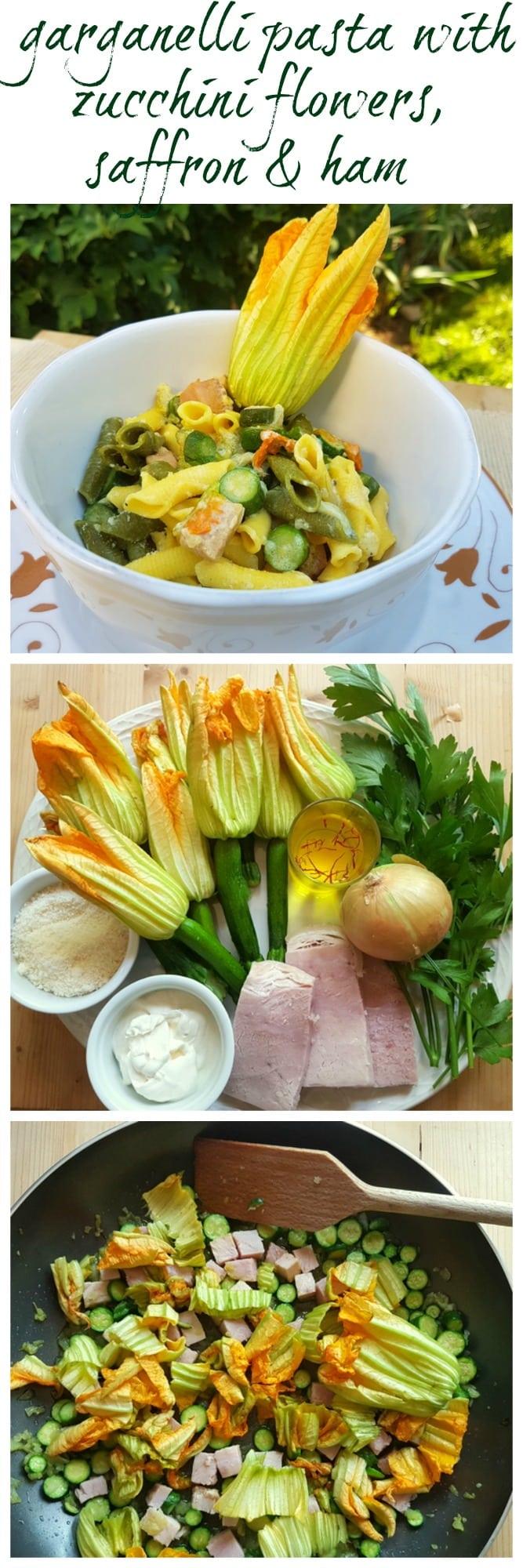 pasta with zucchini flowers, saffron and ham