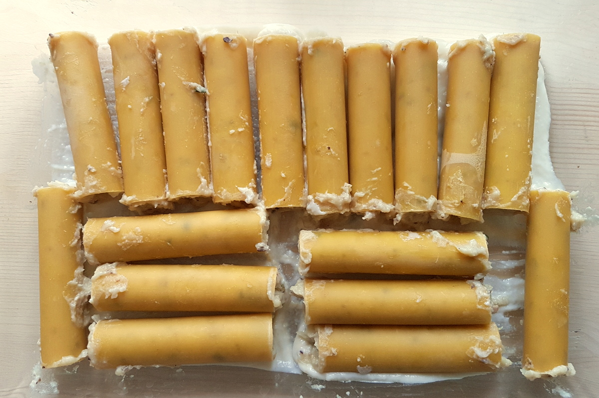 filled dried cannelloni in glass oven dish