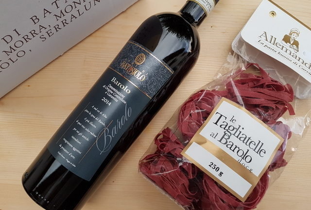 red wine pasta from Barolo