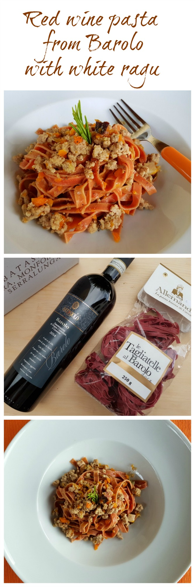 red wine pasta from Barolo with white ragu