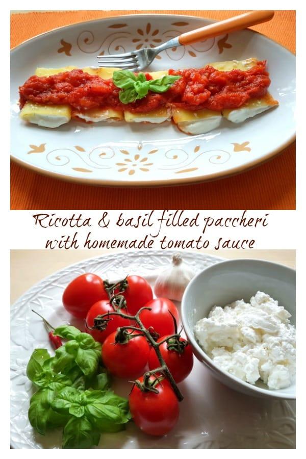 ricotta and basil filled paccheri pasta