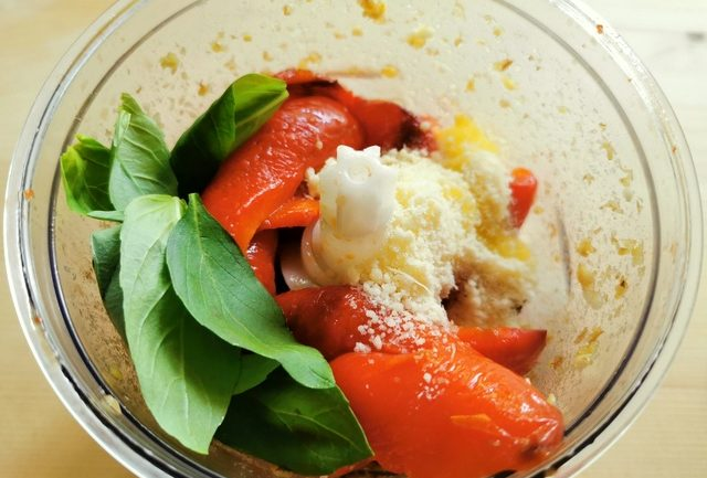 roasted red peppers, basil, cheese and garlic in food processor