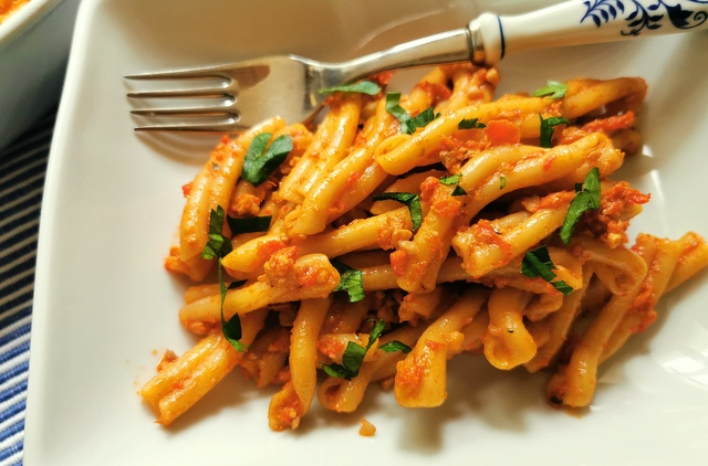 roasted red pepper pesto with casarecce