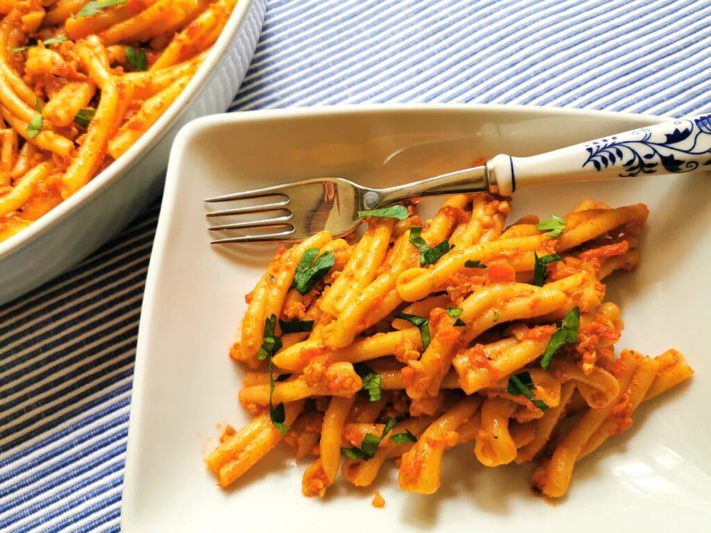 roasted red pepper pesto with casarecce pasta