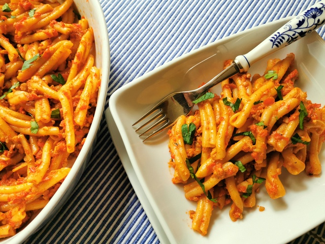 casarecce pasta with roasted red pepper pesto