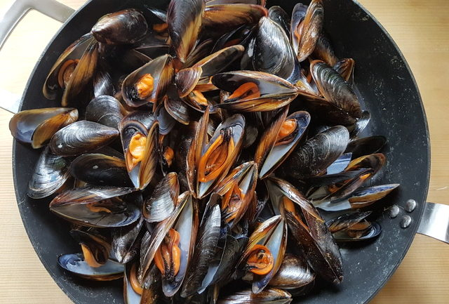 mussels cooking in large pot