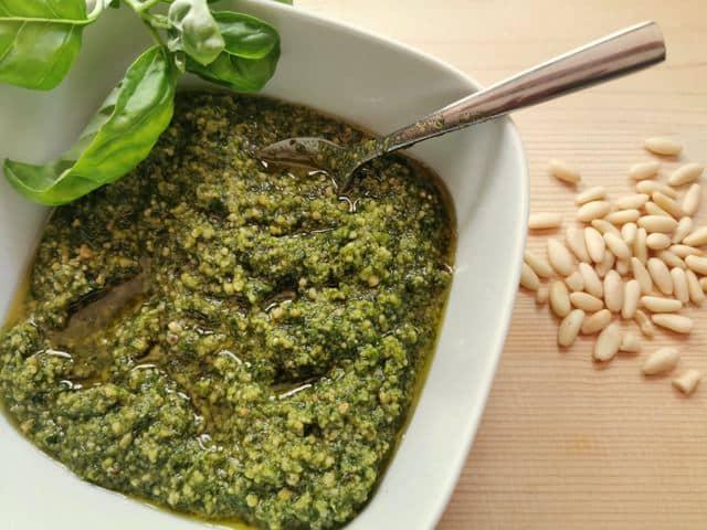 homemade basil pesto with pine nuts