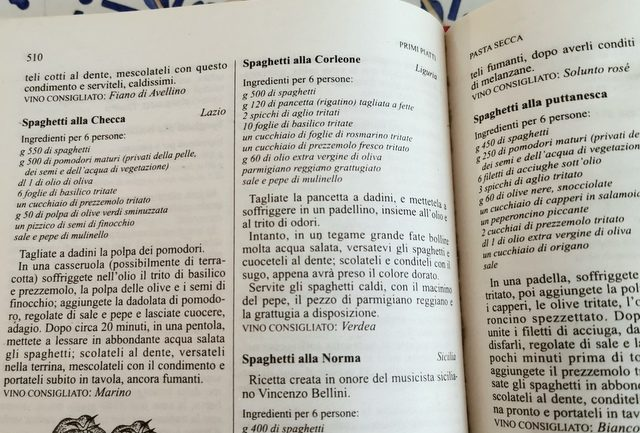 Italian cookbook with spaghetti alla checca recipe