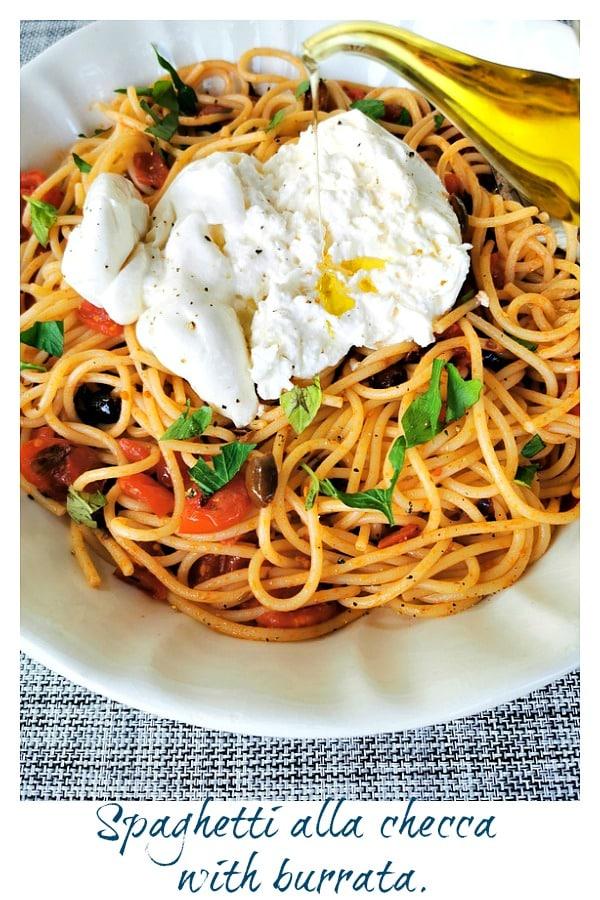 spaghetti alla checca with burrata