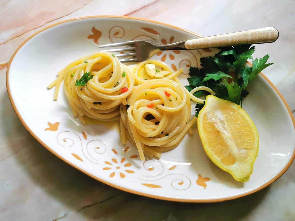 Spaghetti alla colatura Italian fish sauce pasta
