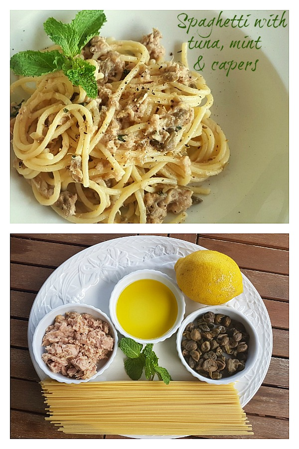 spaghetti with tuna, mint and capers