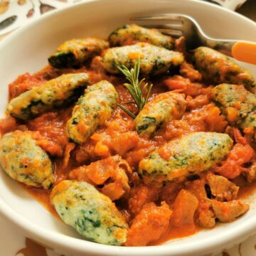 spinach gnocchi with lamb ragu