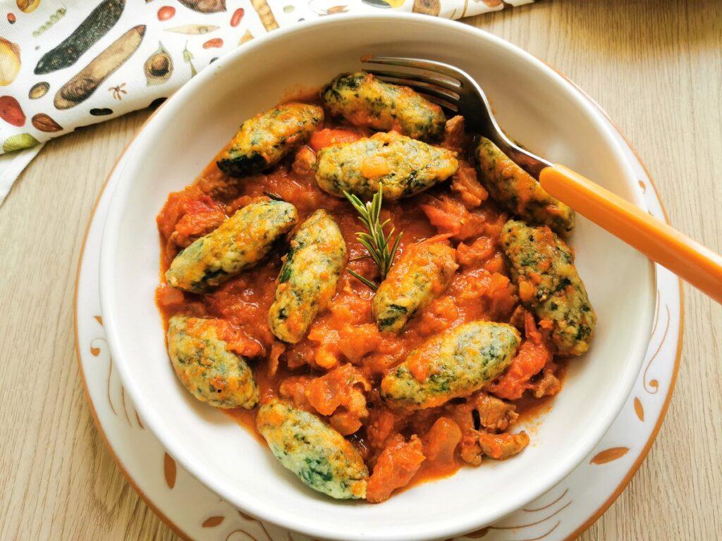 spinach gnocchi with lamb ragu.