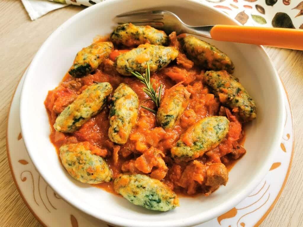 spinach gnocchi with lamb from Abruzzo