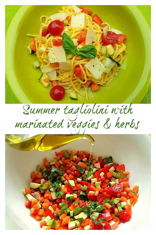 summer tagliolini with marinated vegetables