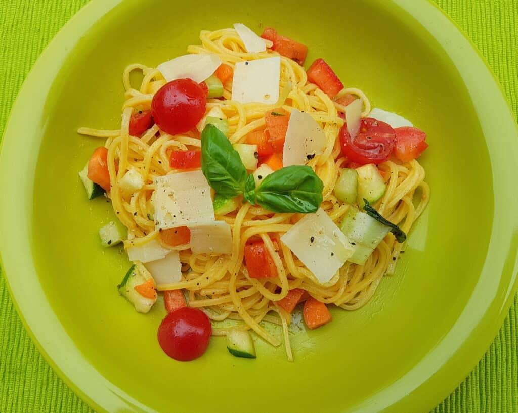 Vegetarian summer tagliolini from Bologna