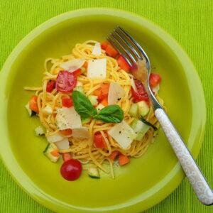 summer tagliolini with marinated vegetables