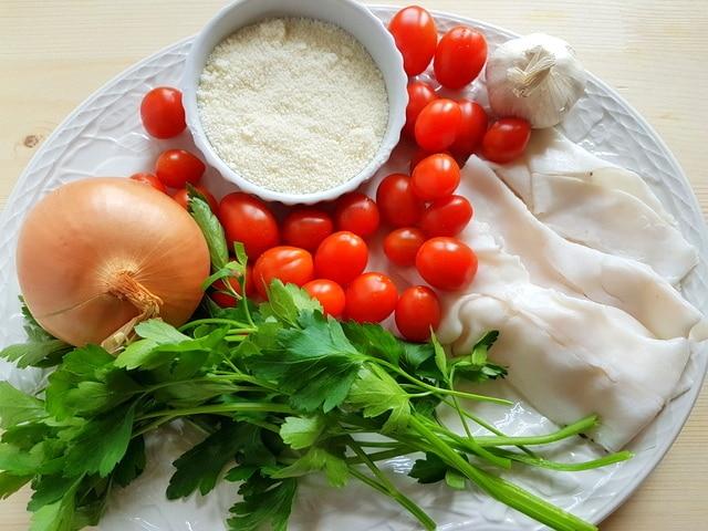 ingredients for ziti with Italian lardo on white plate